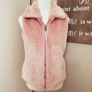 Liz Claiborne Mauve Reversible Faux Fur Vest NWT